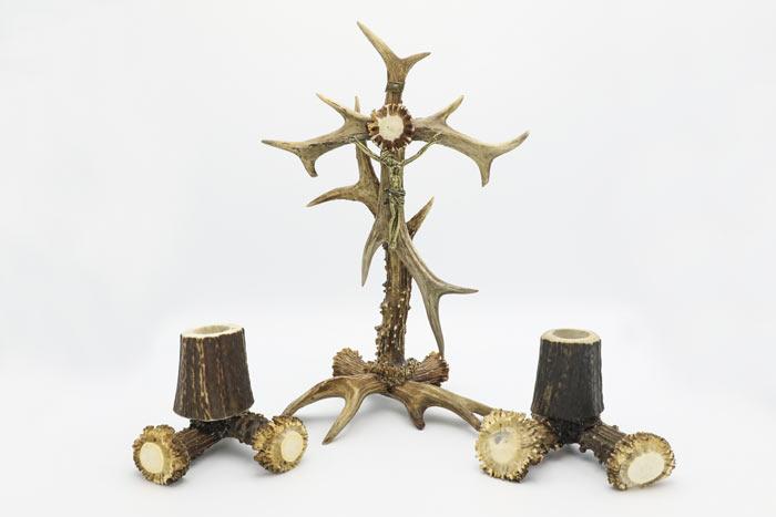 Lichtarz kręty + 2 świeczniki